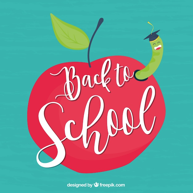 Back to school design with apple and worm