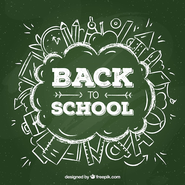 Back to school design with chalkboard lettering