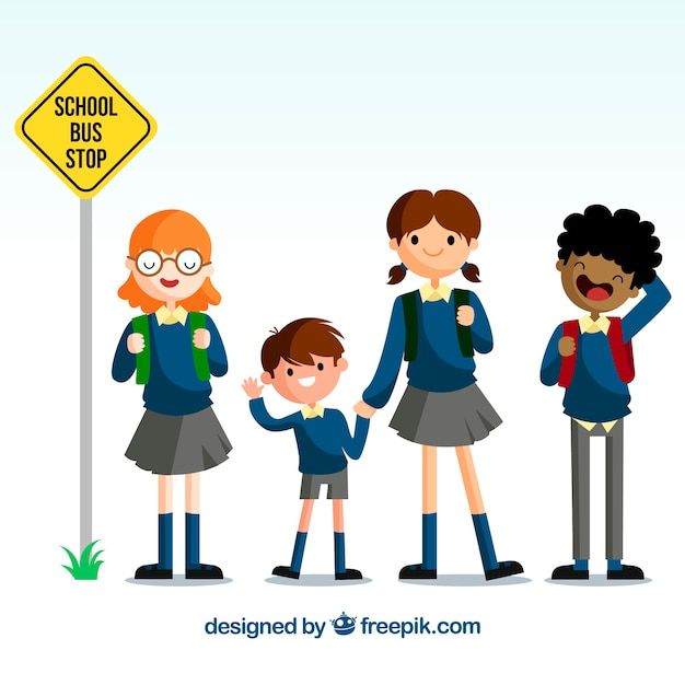 Back to school design with cute kids waiting for school bus