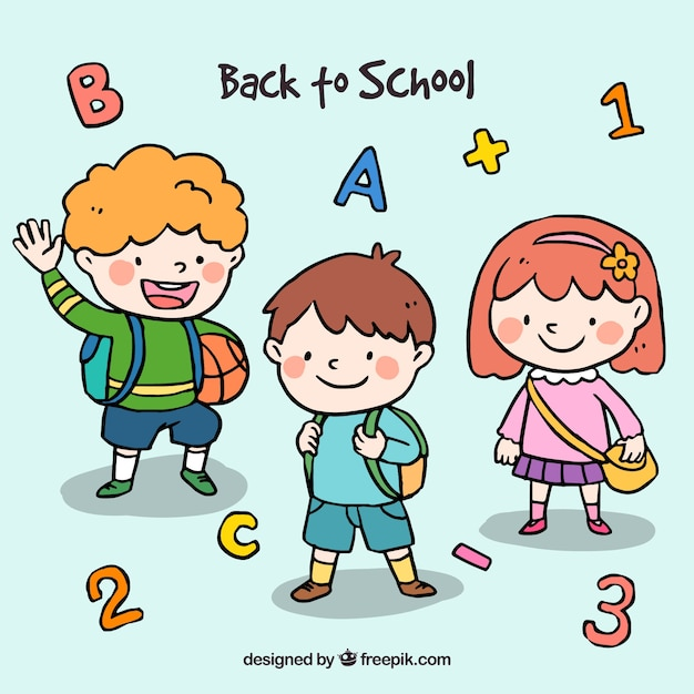 Back to school design with cute schoolkids