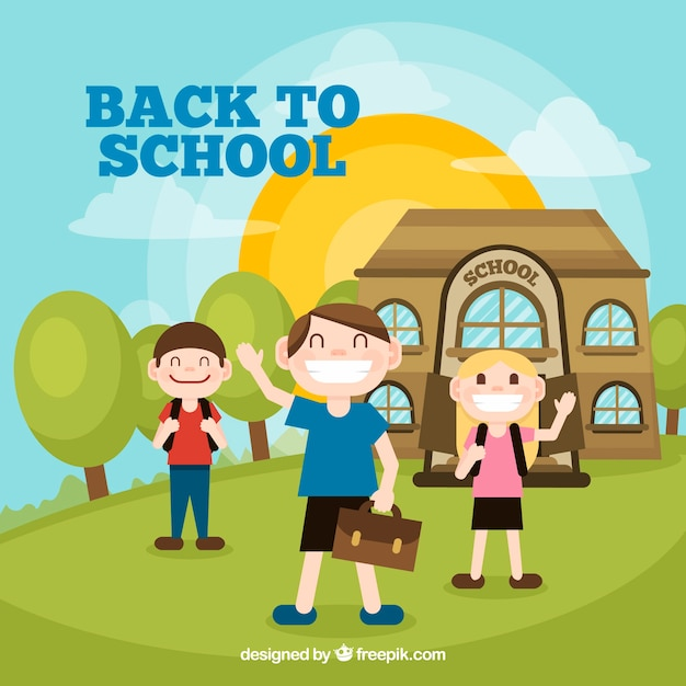 Back to school design with funny kids