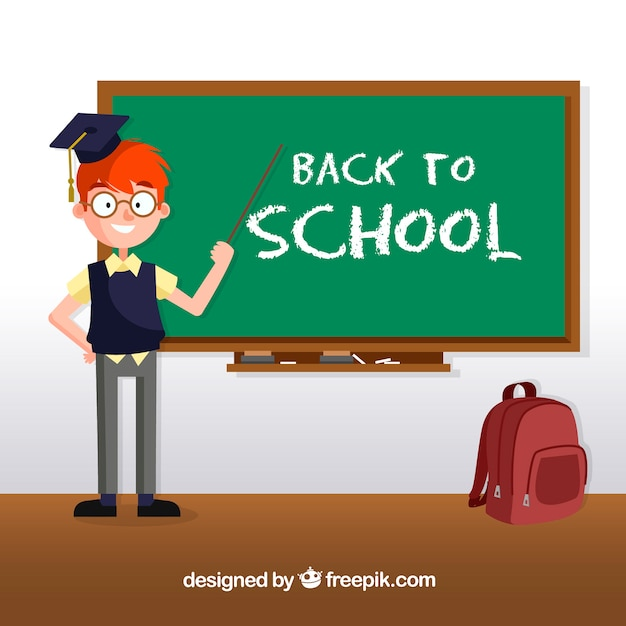 Back to school design with happy teacher