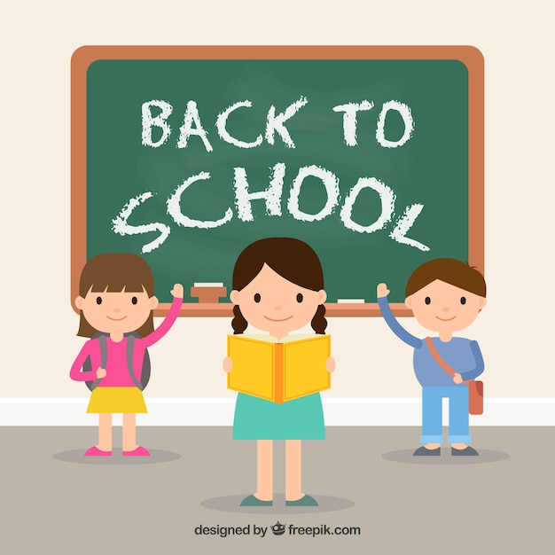 Back to school design with kids in front of chalkboard