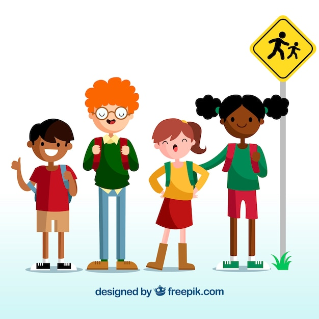 Back to school design with kids waiting for school bus