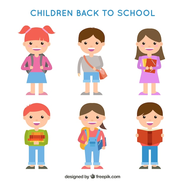 Back to school design with schoolkid characters