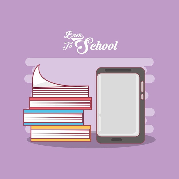 Back to school design with stack of books and smartphone vector back to school design with stack of books and smartphone premium vector yadclub Gallery