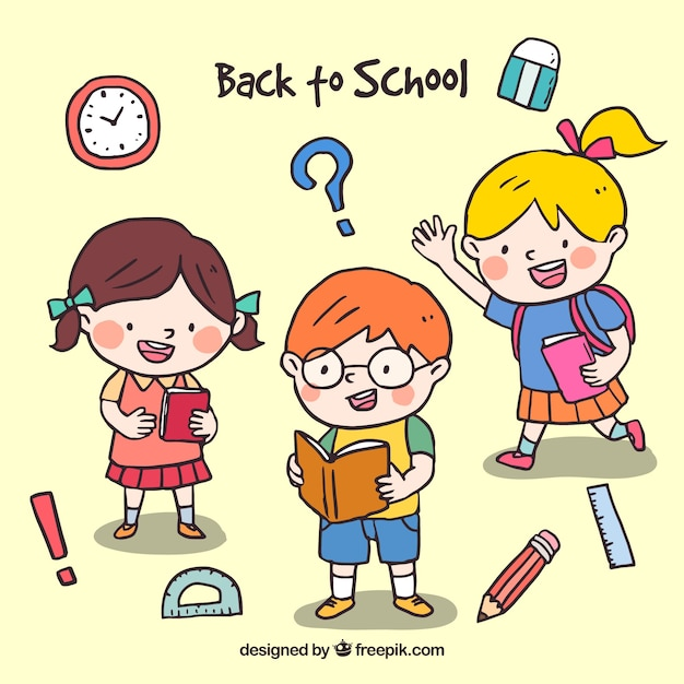 Back to school design with three happy school kids