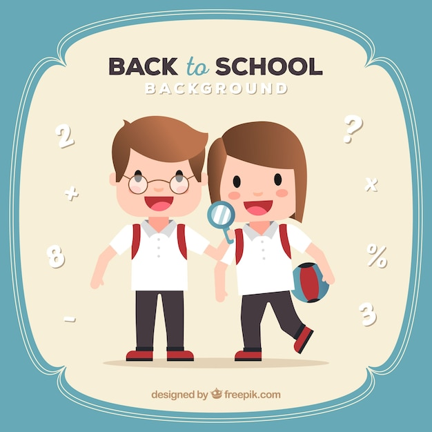 Back to school design with two cute school kids