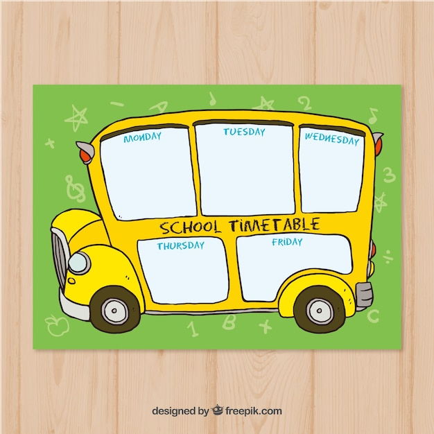 Back to school design with yellow school bus