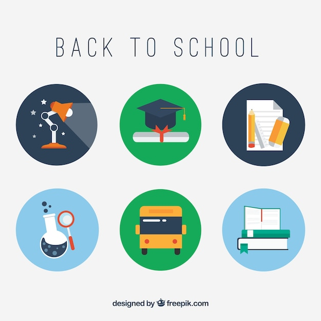 Back to school education icons Vector | Free Download