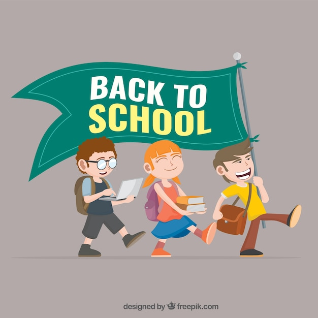 Back to school flag Free Vector