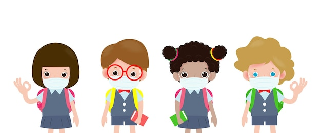 Снова в школу для новой нормальной концепции, группа детей в медицинских масках, защита от covid19 или коронавируса Premium векторы