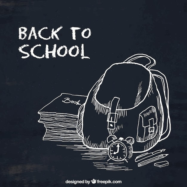Back to school, hand-drawn black background