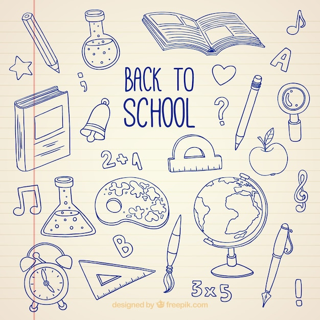 Back to school, hand drawn bottom Free Vector