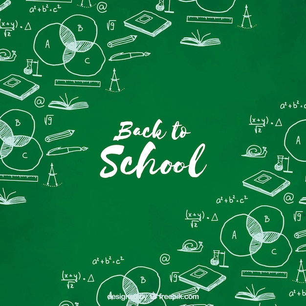 Back to school, hand-drawn green background
