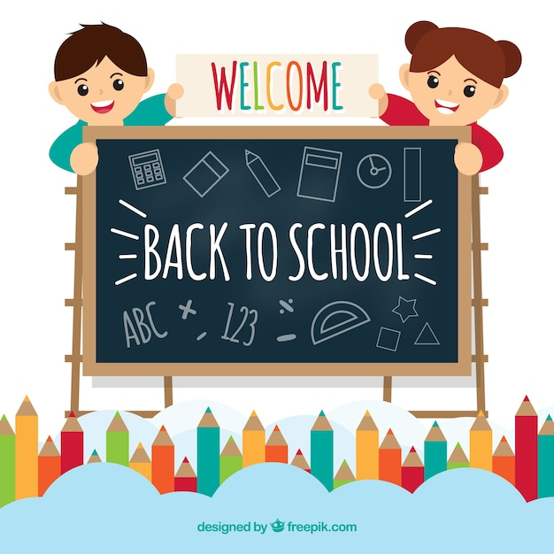 Back to school illustration with kids behind chalkboard