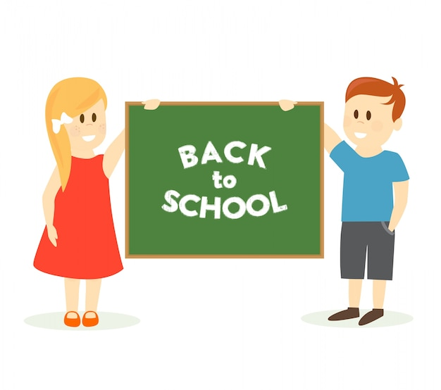 Back to school illustration with kids