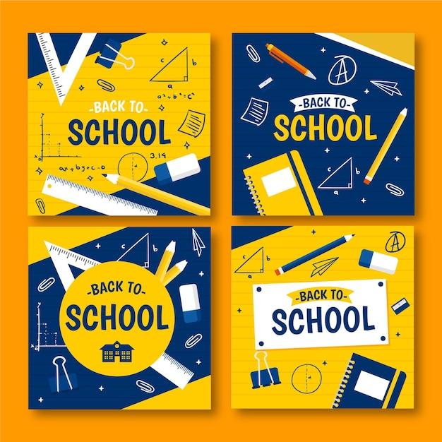 フラットデザインの学校のinstagram投稿に戻る Premiumベクター