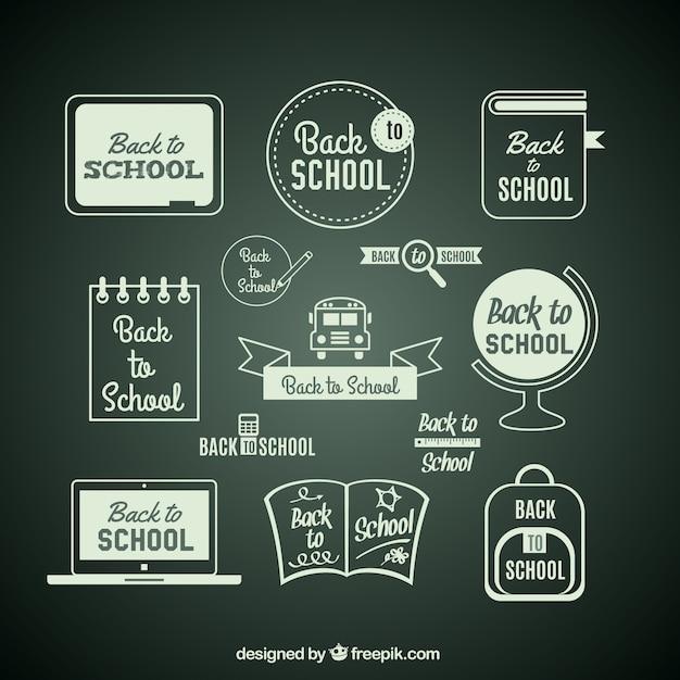 Back to school items on blackboard