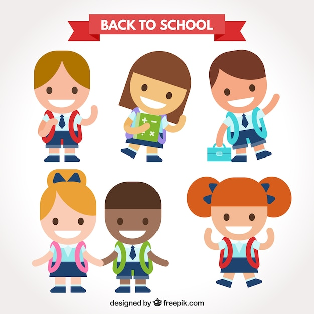 Back to school kid characters