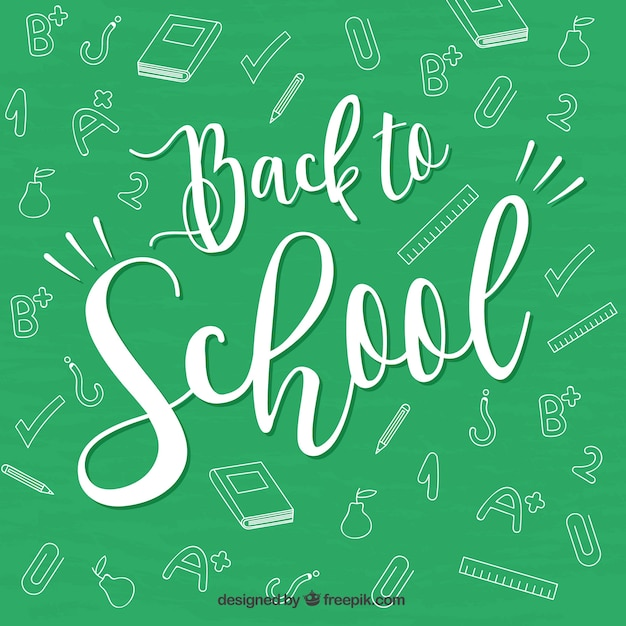 Back to school lettering design on chalkboard