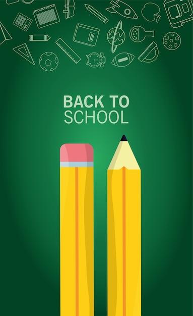 黒板の背景に鉛筆と消耗品で学校のレタリングシーズンに戻る Premiumベクター