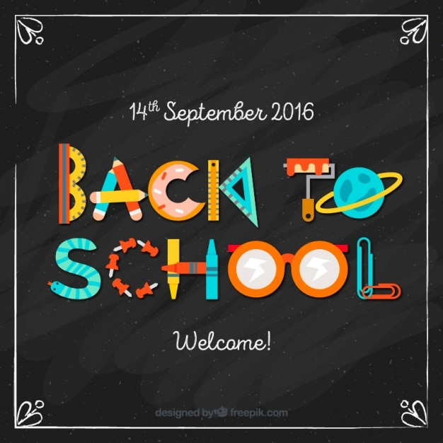 Back to school made with school supplies Free Vector
