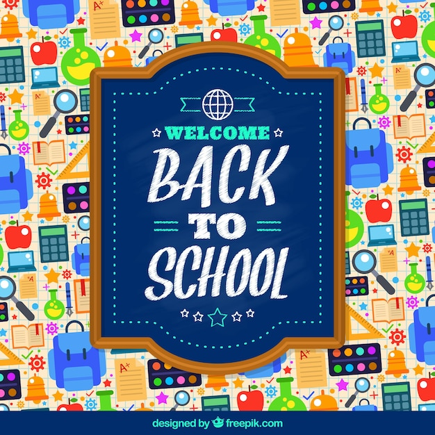 Back to school materials background Free Vector
