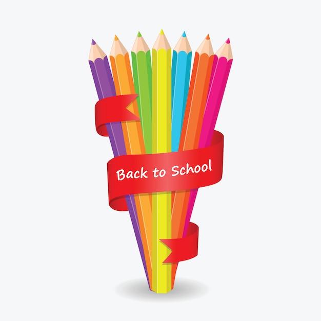 Назад в школу цвет карандаша с красной лентой Premium векторы