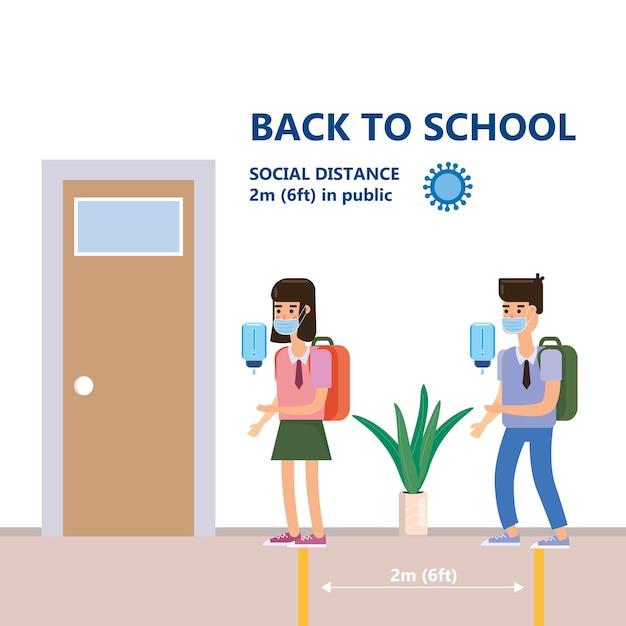 Снова в школу плакат безопасное социальное дистанцирование и профилактика коронавируса covid-19, дети в безопасных масках Premium векторы