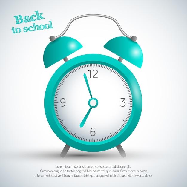 Обратно в школу плакат с будильником Бесплатные векторы