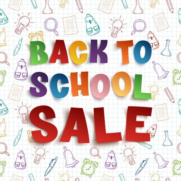 Снова в школу продажи фон на квадратной бумаге с рисованной школьными инструментами. иллюстрация. Premium векторы