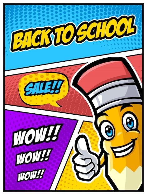 面白い鉛筆文字とコミックスタイルの学校販売バナーに戻る Premiumベクター