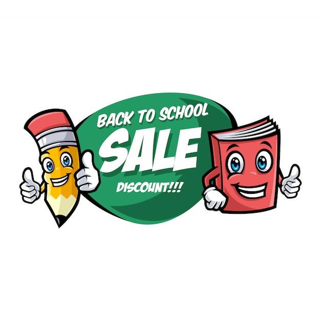 面白い学校のキャラクターと学校販売バナーに戻る Premiumベクター