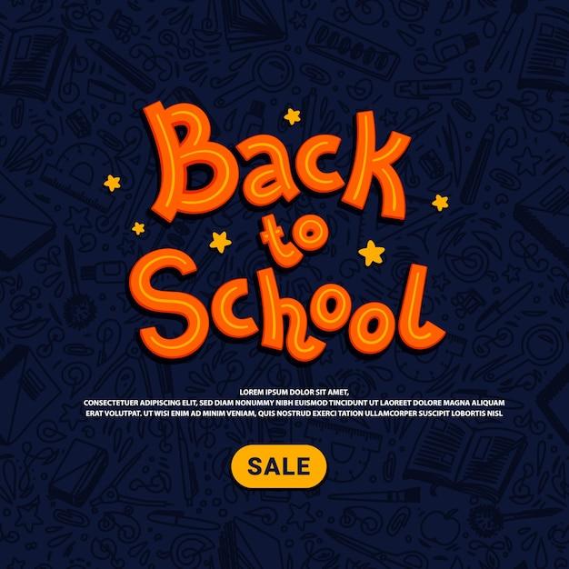 Назад к шаблону продажи школы. интернет-магазины школьных принадлежностей. иллюстрация стиля каракули. Premium векторы
