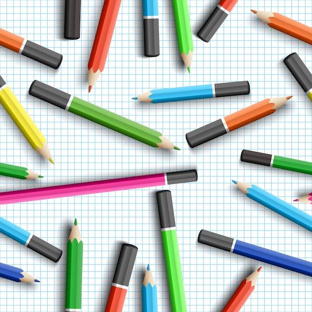 鉛筆で学校のシームレスなパターンに戻る Premiumベクター
