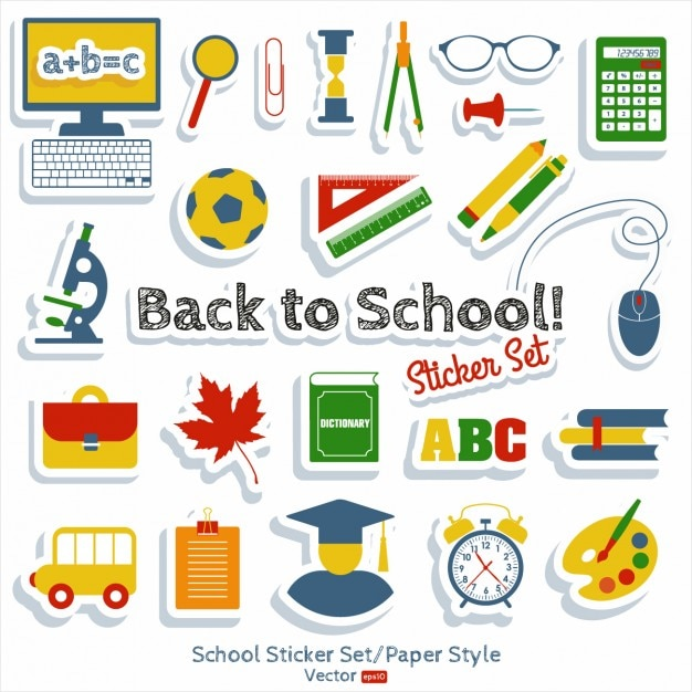 Back to School Sticker Set Vector | Free Download