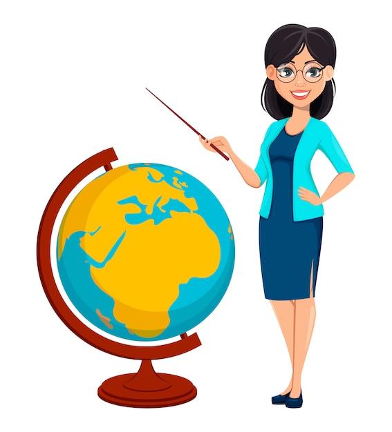 Обратно в школу. учитель женщина мультипликационный персонаж Premium векторы