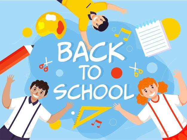 青の背景に陽気な学生の子供たちの文字と教育要素を学校のテキストに戻る。 Premiumベクター