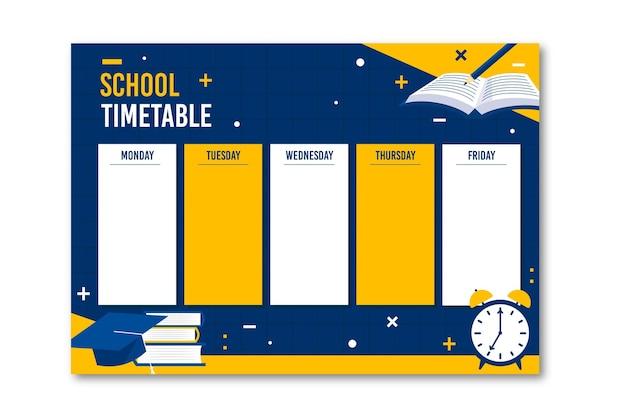 Вернуться к школьному расписанию плоский дизайн Бесплатные векторы