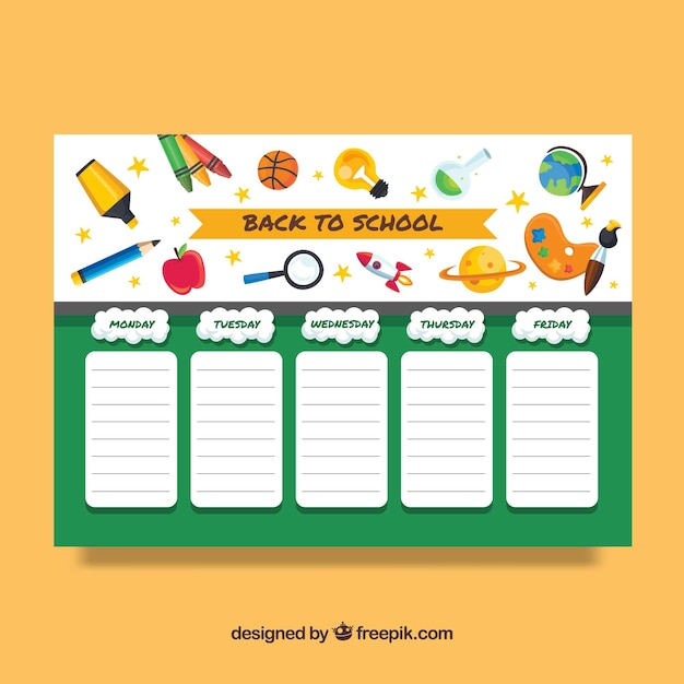 Back to school timetable template Vector – Timetable Template School