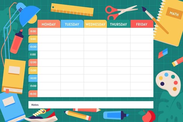 Вернуться к шаблону школьного расписания Бесплатные векторы