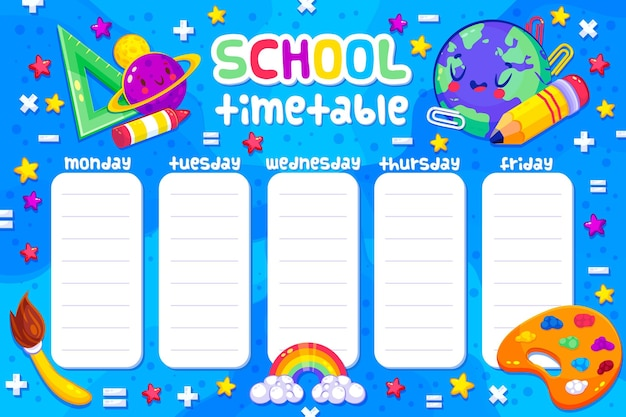 Вернуться к школьному расписанию с предметами Бесплатные векторы