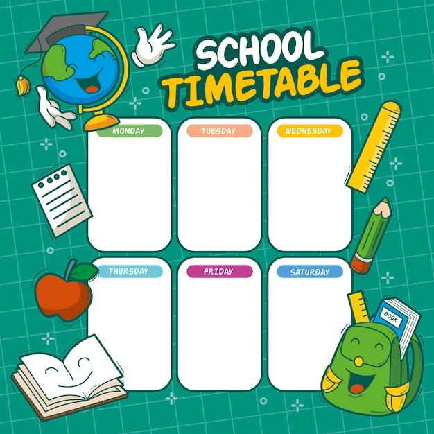 Снова в школьное расписание Бесплатные векторы