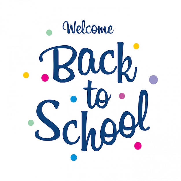 Back to school typography with white background and creative design Free Vector