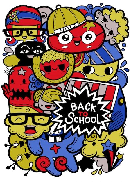 面白い教育漫画のマスコットと学校のベクトル文字に戻る Premiumベクター