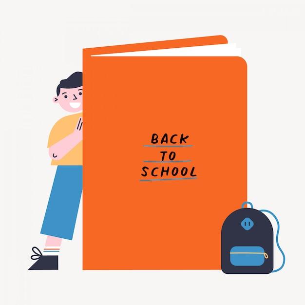 子供と本と学校のベクトル図に戻る。大きな本の後ろに立っている少年。フラットなデザインのカラフルなイラスト。 Premiumベクター