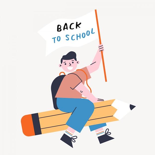 子供と鉛筆で学校のベクトル図に戻る。フラグを押しながらペンを飛んでいる少年。 Premiumベクター