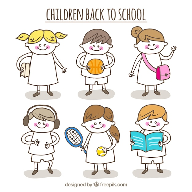 Back to school with hand drawn children