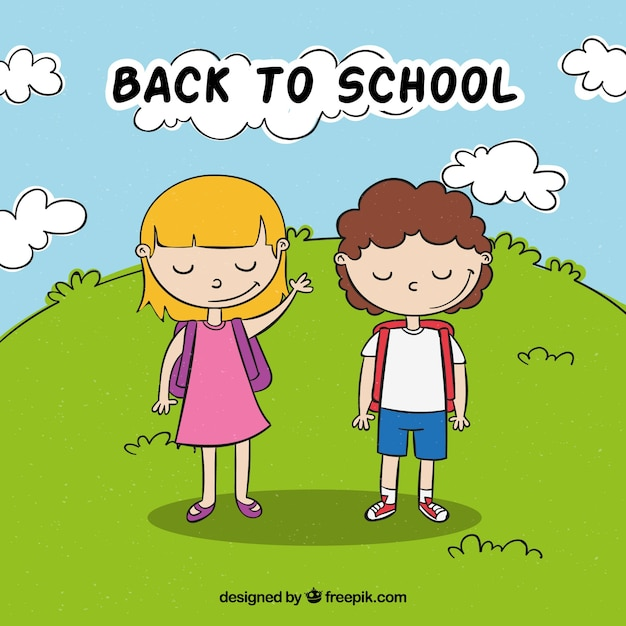 Back to school with kids greeting background